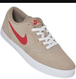 NWT Mens Nike SB Check Skateboarding Shoes- Tan/Red-  #705265-261- SZ-13