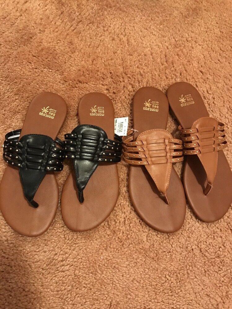 New Women's Montego Bay Club black Gladiator Slide On Sandals black Club or tan sz 7 or 10 fd5fea