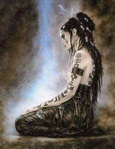 Framed-Print-Native-American-Indian-Woman-Kneeling-to-her-Animal-Spirits-ART