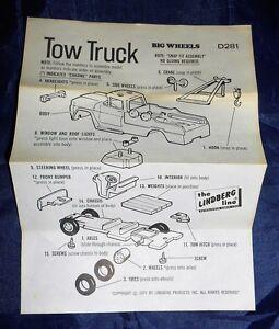 Vtg 1971 The Lindberg Line Big WheelsTow Truck  #D281  Instruction Sheet Only