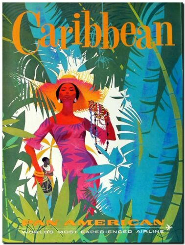 "Cool Retro Travel Poster *FRAMED* CANVAS ART Caribbean Pan America 16/""x12/"""