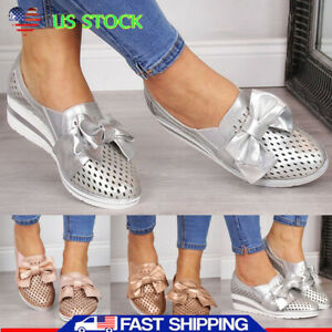 Women-Breathable-Wedge-Heel-Sneakers-Slip-On-Bowknot-Summer-Casual-Shoes-Loafers