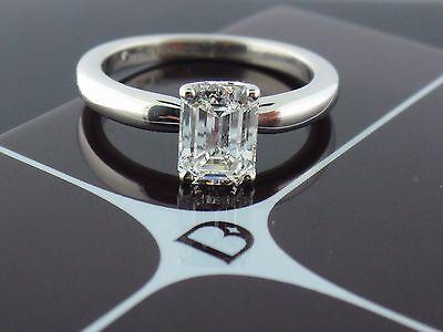 De Beers Platinum 1.02ct G VS2 Emerald cut Diamond Solitaire Engagement Ring