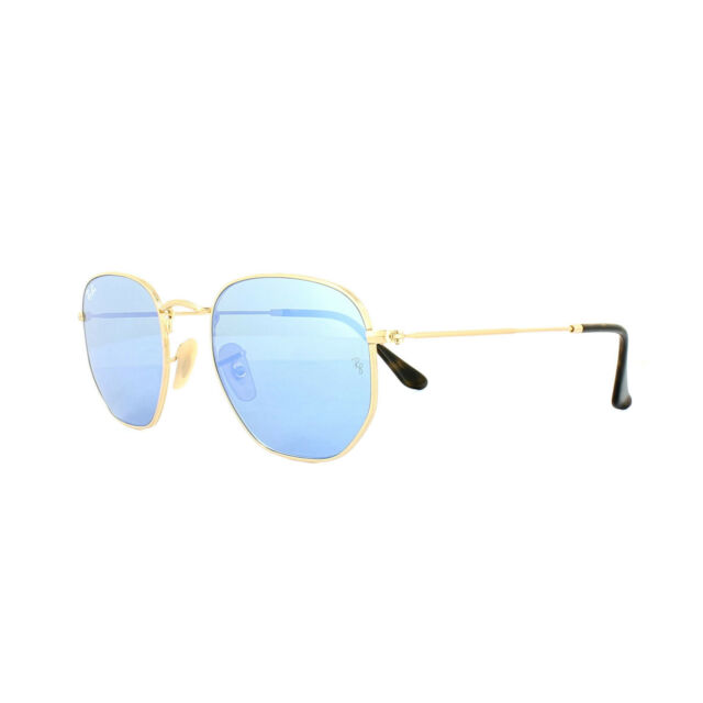 deab6a60d7 Ray-Ban Sunglasses Hexagonal 3548N 001 9O Gold Light Blue Gradient Mirror  54mm