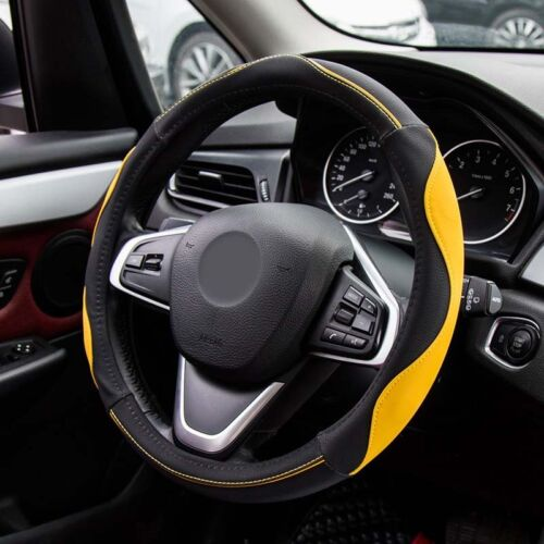 Odorless Leather Car Steering Wheel Cover Grip Black Yellow 38cm 15inch