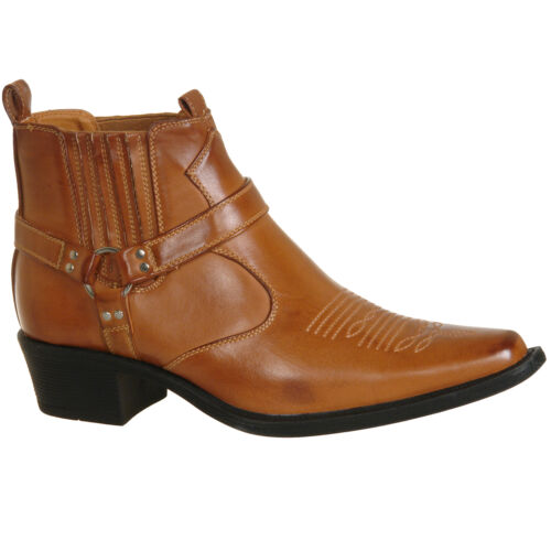 Tan Brown Ankle Cowboy Western Boots Size UK 6 7 8 9 10 11 12 Mens New Black