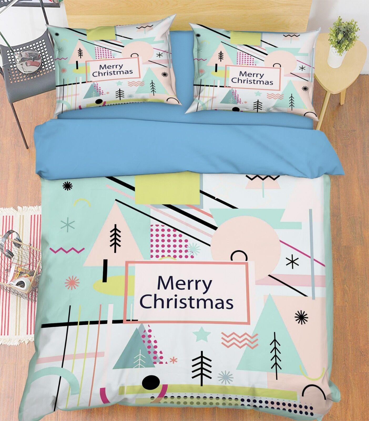 3D Christmas Tree 68 Bed Pillowcases Quilt Duvet Cover Set Single King UK Summer