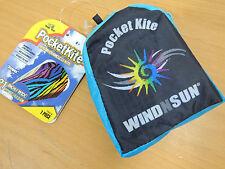 "Pocketkite WindNSun STRIPES Frameless Kite 21"" Wide Nylon in Carrying Pouch"