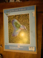 Glass & Metal Humming Bird Garden Stake Bird Feeder Bath In Box