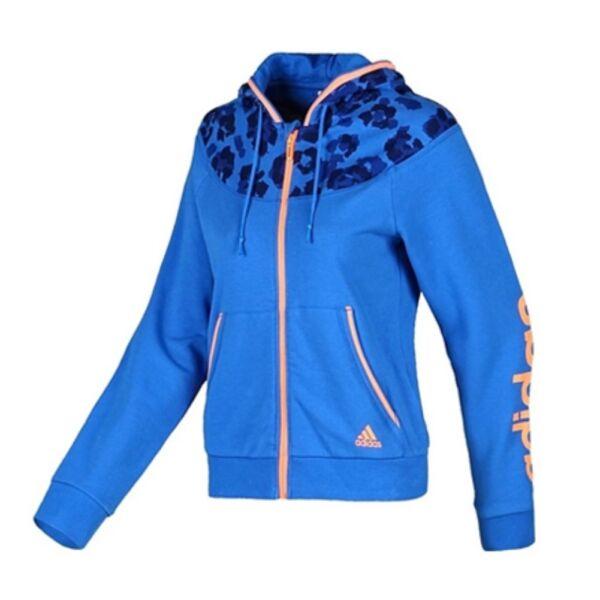 adidas FZ Linear Damen Hoody Hoodie Pullover Kapuzenjacke Jacke SlimFit Blau