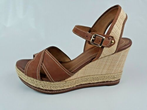 Clarks Amelia Espadrilles Cognac Brown Leather Pla