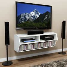 wall mount tv stand media console center storage shelves cd video