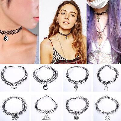 Gothic Fashion Tattoo Choker Stretch Necklace Black Elastic 80s 90s Jewellery