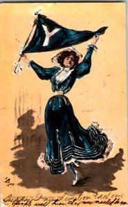 S21-1834-Vintage-Bergman-Postcard-Yale-U-Football-Pennant-Cheerleader-1905