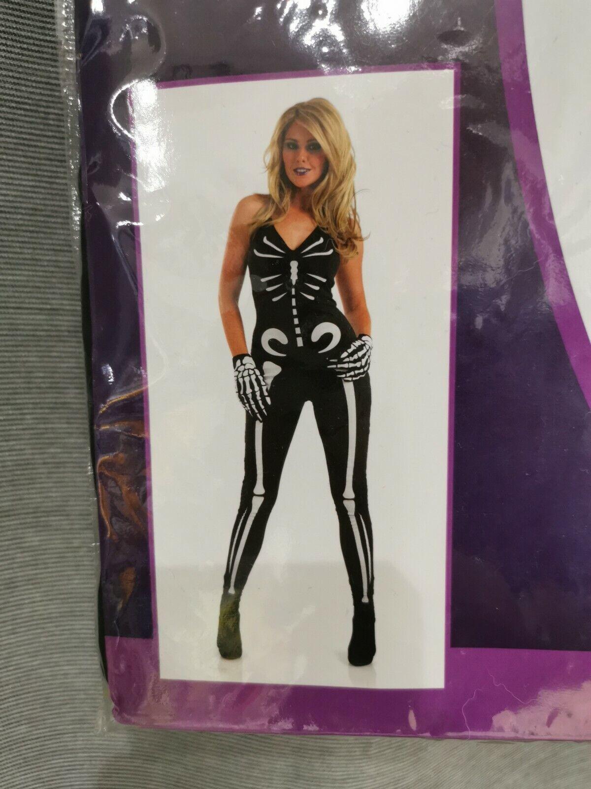 Sh1 Ladies skeleton girl costume fancy dress cosplay adults large 16-18