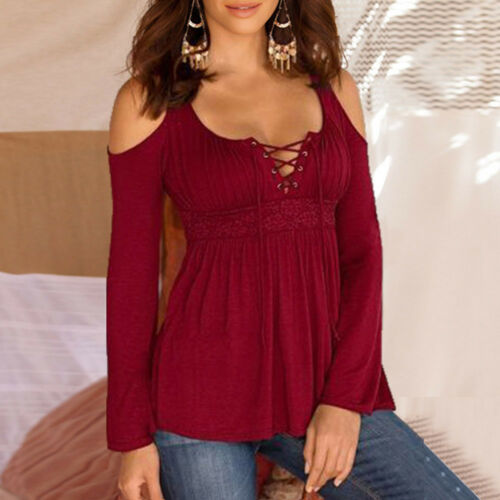 Women Casual V Neck Solid Bandages Cold Shoulder Long Sleeve Top Blouse Pullover