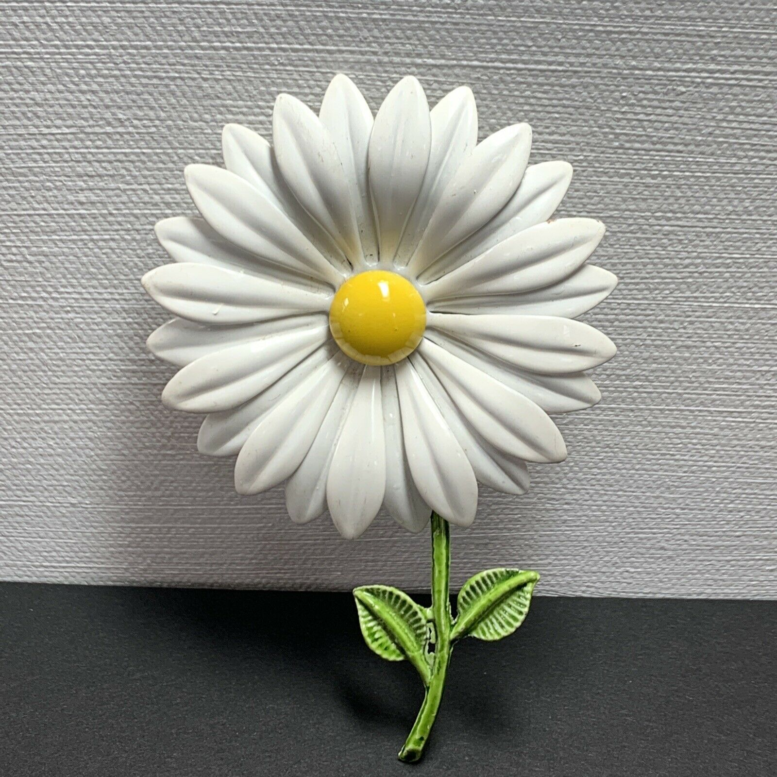 Vintage Sarah Coventry Yellow Daisy Brooch Pin MOD Flower Power Brooch Pin Large Yellow Enamel Gold Tone Daisy Flower Brooch Pin