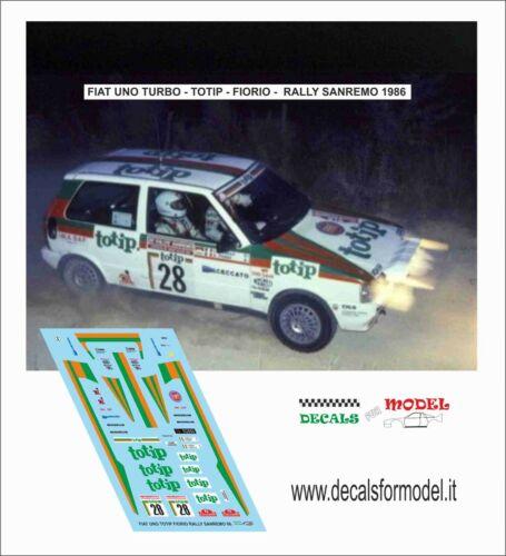 DECALS 1//43 FIAT UNO TURBO TOTIP FIORIO RALLY SANREMO 1986