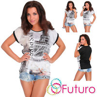 Ladies T-Shirt Insipre Print Short Sleeve Sequined Casual Top Sizes 8-14 FB242