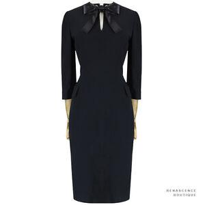 Alexander-McQueen-Austere-Black-Ribbon-Collar-Tailored-Slim-Fit-Dress-IT42-UK10