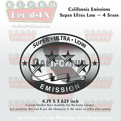 Silver Ultra Low Emission 3 Star California DOT Outboard Graphic Sticker Decal