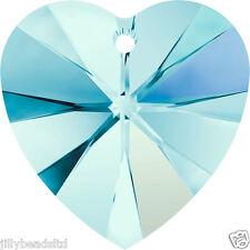 Swarovski 6228 Xilion Heart Pendant Aquamarine AB Pack of 4