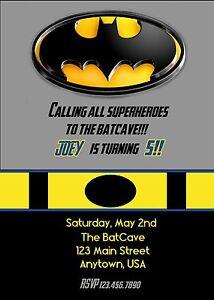 Superhero birthday invitation batman birthday invitation batman ebay image is loading superhero birthday invitation batman birthday invitation batman filmwisefo
