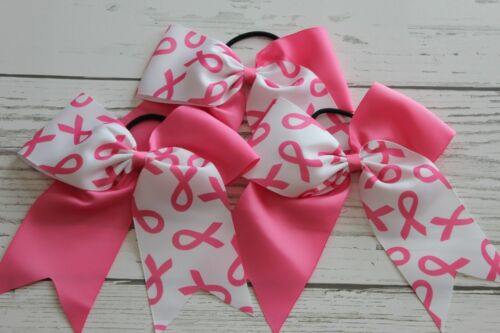 3pcs Breast cancer cheer bows chearleading hairbows big size pony US seller