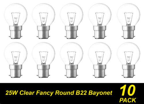 10 Pack 25W Clear Fancy Round Light Globes Bulbs Bayonet Cap B22 Warm White