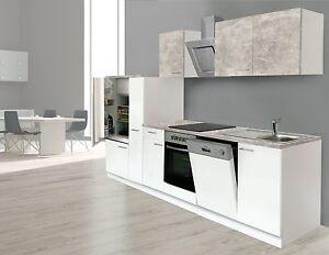 Dettagli su Respekta Blocco Cucina Angolo Cottura 310 cm Bianco  Calcestruzzo Ottica