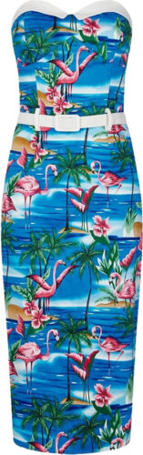 Collectif MONICA Tropical Vintage FLAMINGO Wiggle Pencil Dress KLEID Rockabilly