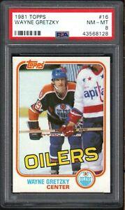 1981 Topps #16 WAYNE GRETZKY HOF Edmonton Oilers PSA 8 NM/MT