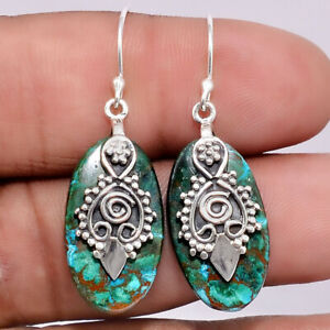 Azurite-In-Malachite-925-Sterling-Silver-Earrings-Jewelry-SDE11666
