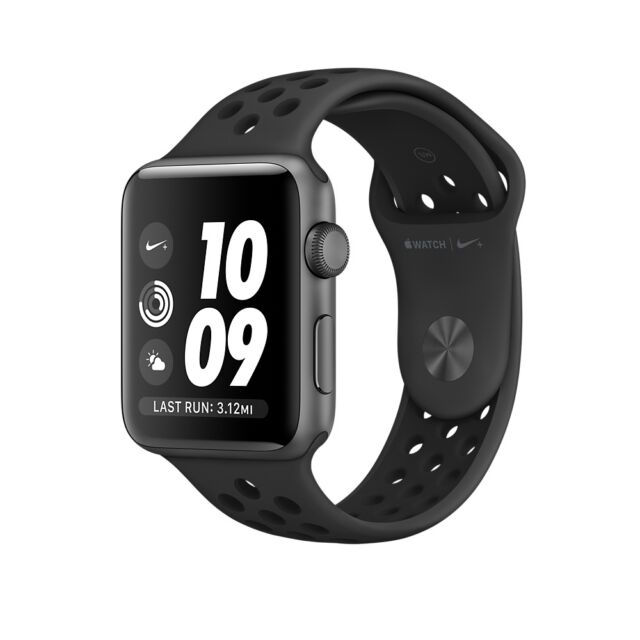Apple Watch Nike+ Gray Aluminum 38mm Case Anthracite/Black Sport Band MQ162LL/A
