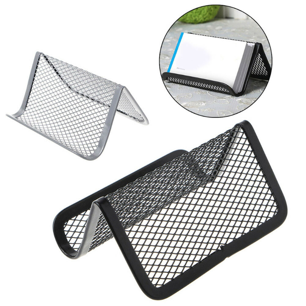 Desk Business Card Holder Silver Mesh