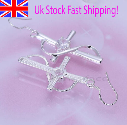 925 Sterling Silver plt Cross Earrings Crystal Swirl Dangle Drop Girl Gift Bag