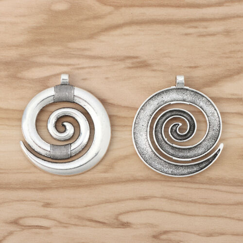 5pcs Antique Silver Large Spiral Swirl Vortex Charms Pendants for Jewelry Making