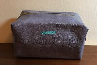 Saks Fifth Ave Cosmetic Bag Faux Leather Grey 3
