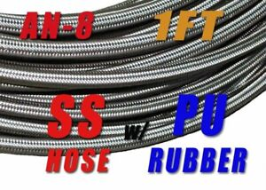 8an AN8 STAINLESS STEEL BRAIDED OIL GAS FUEL LINE HOSE 10FT TRACK CAR RACING