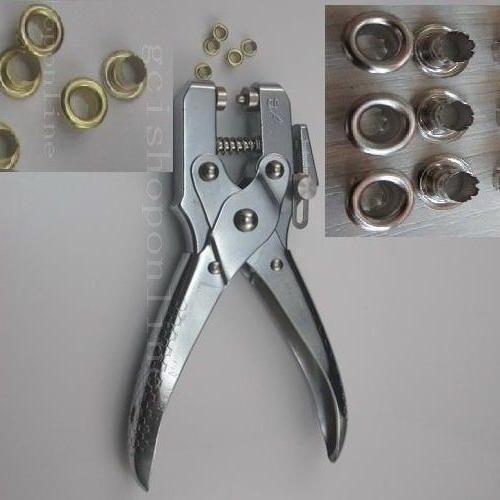 "Easy press Grommet Eyelet Setting Pliers Metal Heavy + 200 Grommets 3/16"" 4mm"