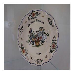 Assiette-faience-DESVRES-fait-main-KRISTINE-MOREL-1994-YVONNE-DUFAY-France-N106