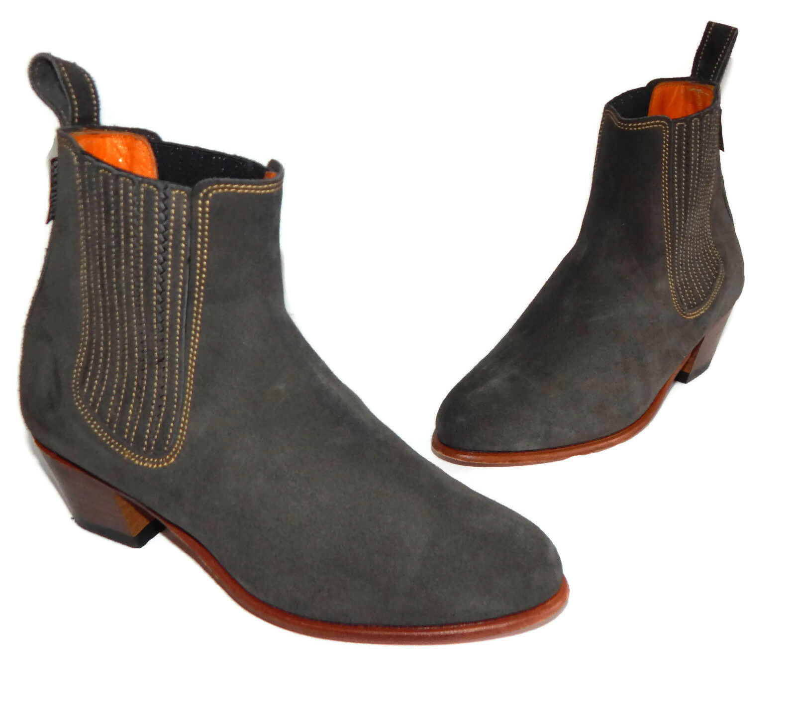 Penelope Chivers Gray Suede Leather Side Stitching Spain Ankle Boots Sz - 36.5