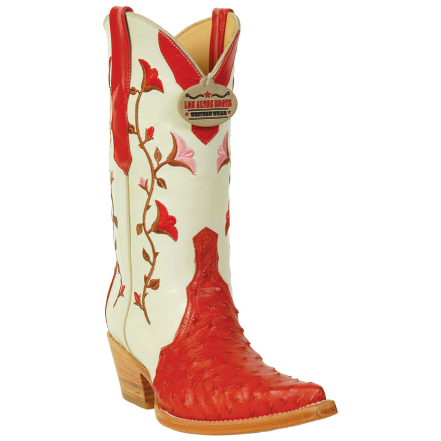 Red Ostrich Boots For Women Genuine Exotic Skin Los Altos Boots Handmade