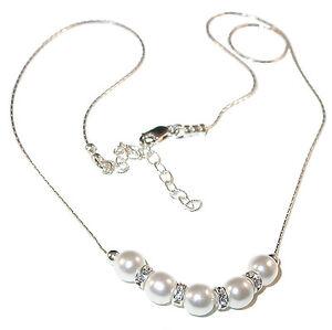 WHITE-Pearl-Necklace-Confirmation-Bride-Sterling-Silver-Swarovski-Elements