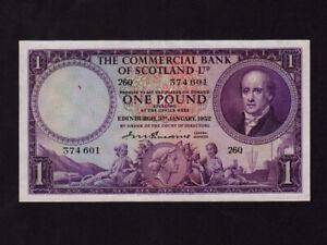 Scotland:P-S332,1 Pound,1952 * Commercial Bank of Scotland Ltd * AUNC *