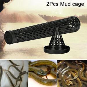2pcs Cage Fishnet Finless Eel Loach Trap Fishing Pot Durable Plastic AU