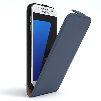 Tasche für Samsung Galaxy S7 Flip Case Schutz Hülle Handy Cover Dunkelblau