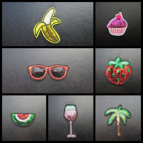 SEQUIN IRON ON BADGE SEW ON BANANA MELON PALM TREE SUNGLASSES STRAWBERRY GLASS
