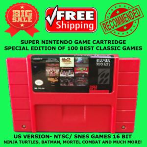 Super Nintendo Game 100 In 1 To SNES US NTSC Multi Cart Cartridge 16 Bit Console