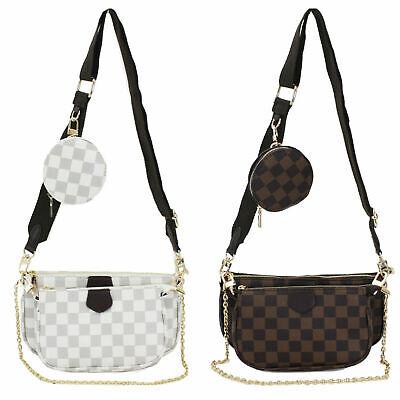 Women Ladies Designer Checkered Tote Bag 2 in 1 Clutch Quality Shoulder Handbag
